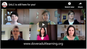 DALC is still here for you! We have online courses, socially-distanced tutoring, hybrid classes, and much more! HiSET pre-testing, tutoring and final testing are starting up again. Watch the video below:
